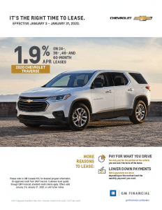 2020 Chevrolet Traverse Lease Offer